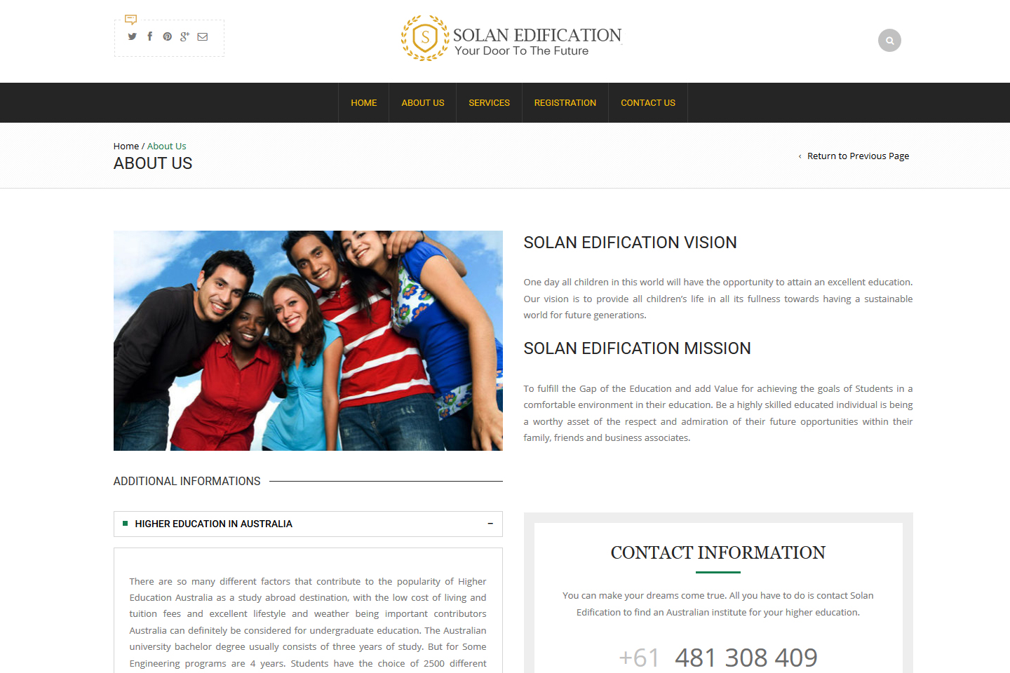 About Us Page Solan Edification
