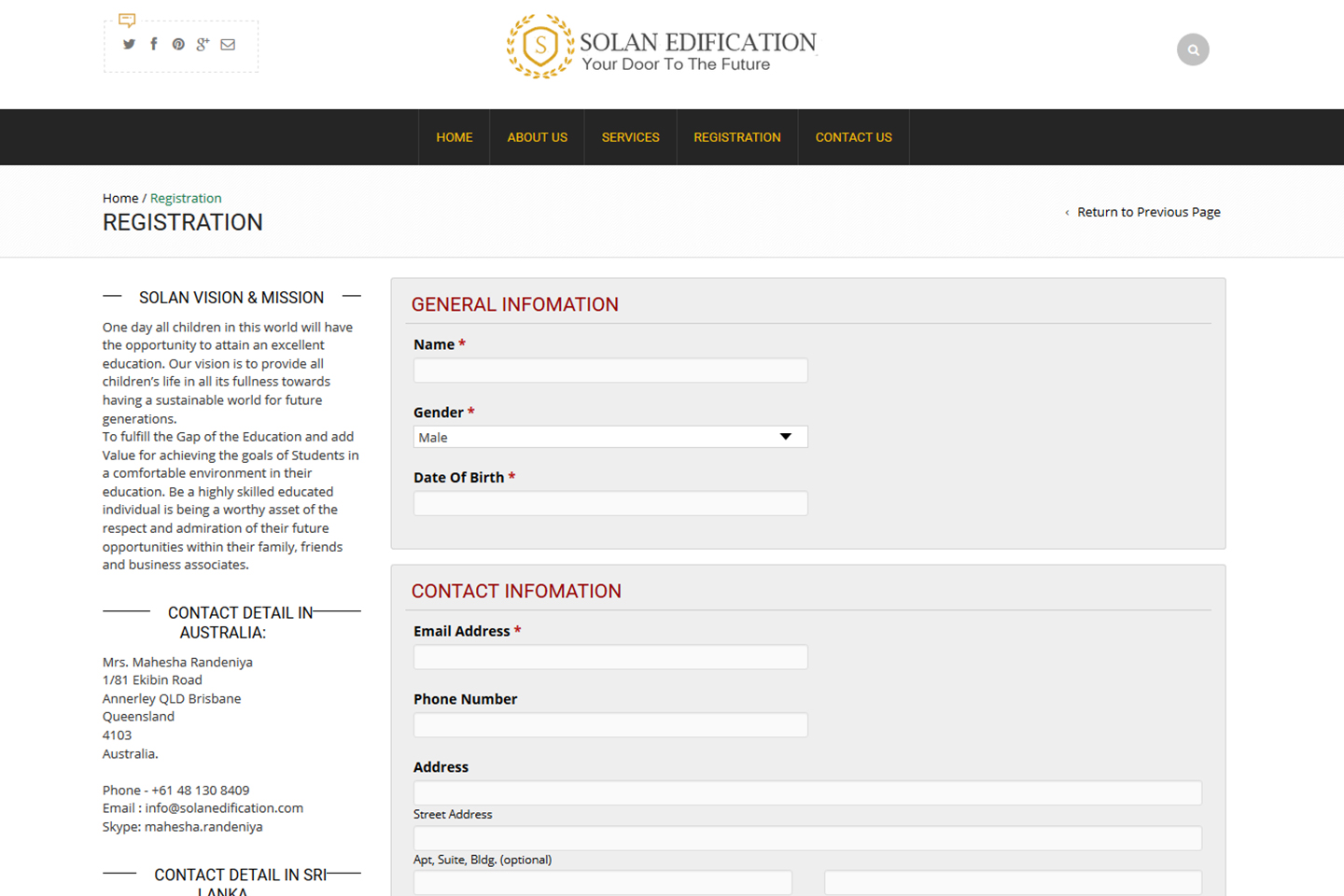 Registration Page Solan Edification